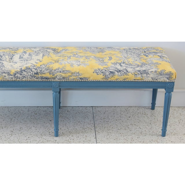 French-Style Yellow, White & Blue-Gray Toile Bench For Sale - Image 10 of 13