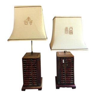 Abacus Table Lamps - A Pair For Sale