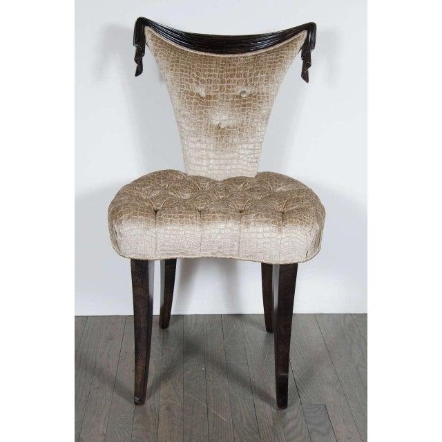 1940s Hollywood Regency draped design chair by Grosfeld House in ebonized walnut and smoked topaz gauffraged crocodile...
