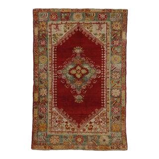 Late 19th Century Antique Turkish Angora Oushak Rug For Sale