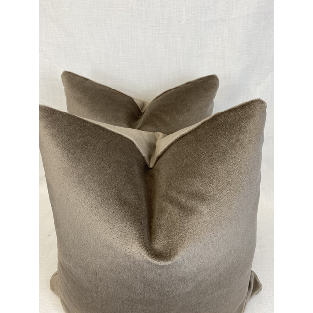 "Transitional Schumacher Mohair Velvet in Dove 22"" Pillows-A Pair For Sale - Image 3 of 4"