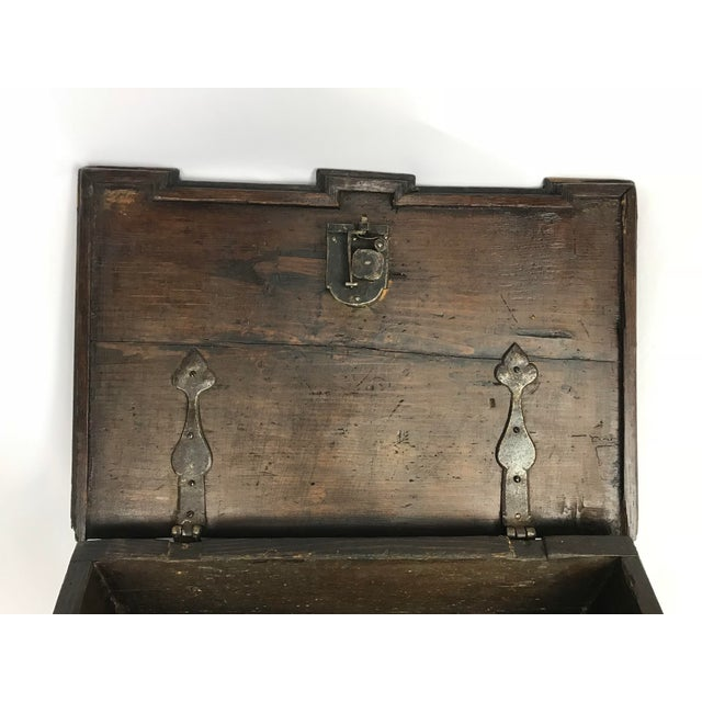 Late 19th Century 1800s Antique Gothic Style Figural Inlay Front Bible Storage Box For Sale - Image 5 of 13