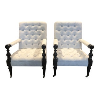 Sunrise Home Tufted Arm Chairs - a Pair ` For Sale