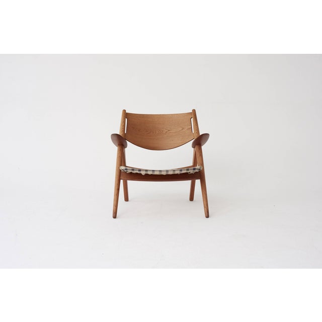 Animal Skin Hans Wegner Ch28 Oak Sawbuck Armchair, 1950s, Denmark For Sale - Image 7 of 8