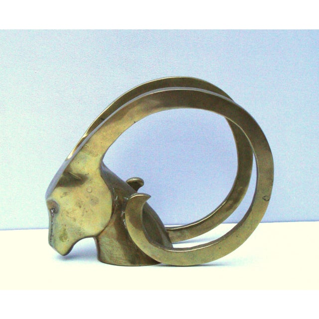 Hollywood Regency Brass Antelope Horns Sculpture - Image 3 of 8