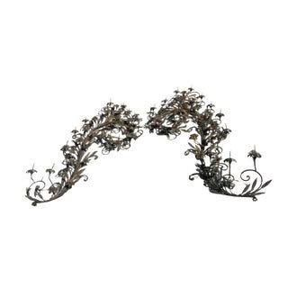 Scrolling Iron Wall Sconce Prickets - a Pair For Sale