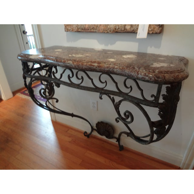 French Regency Wrought Iron & Marble Console Table For Sale - Image 9 of 9