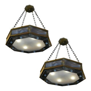 André Hayat Pair of Octagone Chandelier in Bronze and Eglomisé Mirror For Sale