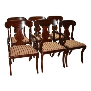 19th Century Antique Empire Solid Mahogany Dining Room Chairs- 6 Pieces For Sale
