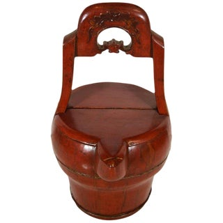 Antique Hand-Carved Red Lacquered Basket with Spout from 19th Century, China