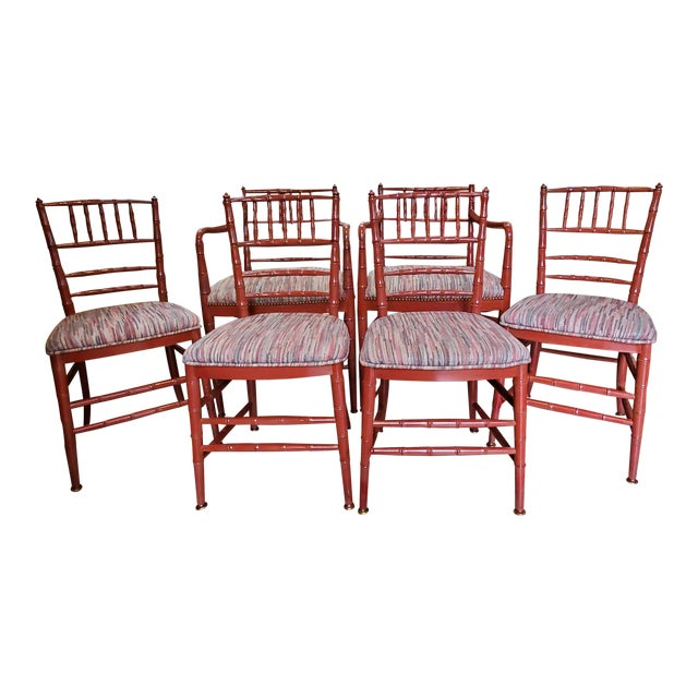 Mid-Century Hollywood Regency Faux Bamboo Dining Chairs- Set of 6 For Sale