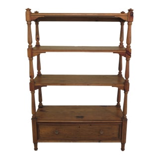 Ralph Lauren Pine Etagere Bookshelf with Drawer For Sale