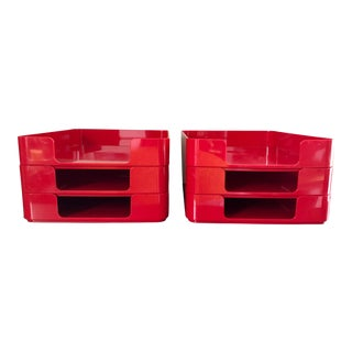 William Sklaroff Radius One Modern Red Plastic Letter Trays- Set of 6 For Sale