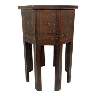 Old Morrocan Inlaid Mother of Pearl, Bone & Multi Wood Octagonal Occasional Side Table For Sale