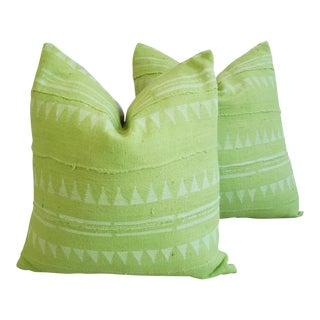 Green & Cream Mali Tribal Mud Cloth Pillows - A Pair For Sale