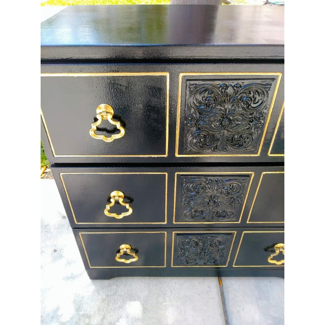 Dorothy Draper Dorothy Draper Style Hollywood Regency 3 Drawer Black Gold Vintage Small Dresser For Sale - Image 4 of 8