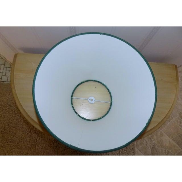 Irish Belleek Basketweave Shamrock Pattern Lamp with Original Linen Shade For Sale - Image 9 of 10