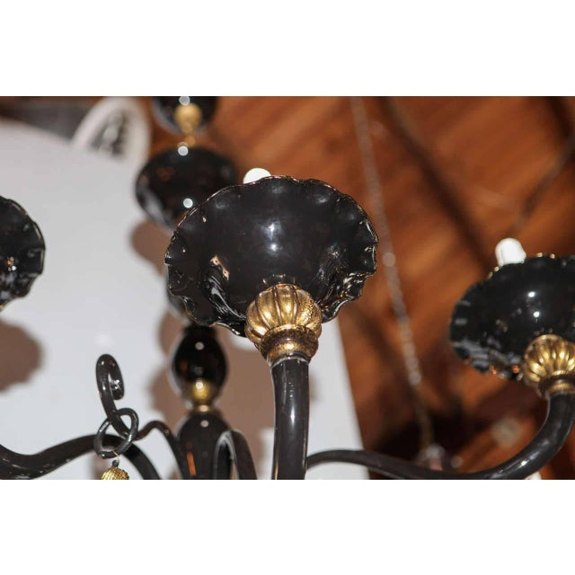 Mid 20th Century Black and Gold Venetian Chandelier For Sale - Image 5 of 9