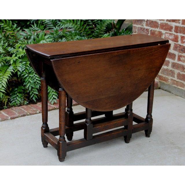 English Antique English Traditional Oak Table Drop Leaf Gate Leg Farmhouse Sofa Table For Sale - Image 3 of 13