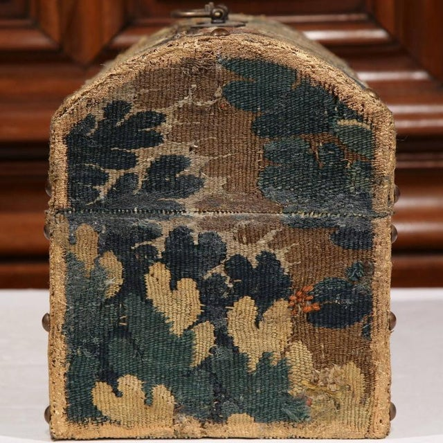 Bombe Wood Trunk Covered With 18th Century Aubusson Tapestry and Signed J. Lamy For Sale In Dallas - Image 6 of 10