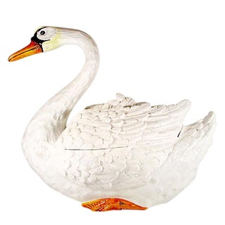 Large Hand-Painted Italian Majolica Swan Centerpiece Tureen