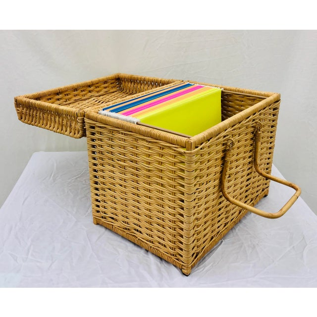 Fantastic Vintage Natural Woven Wicker Hanging File Folder Basket Box with Handles for transport / Carrying. A fabulously...