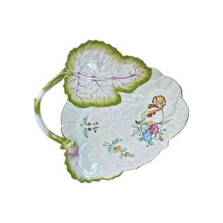 Majolica Leaf Handled Floral Tray For Sale
