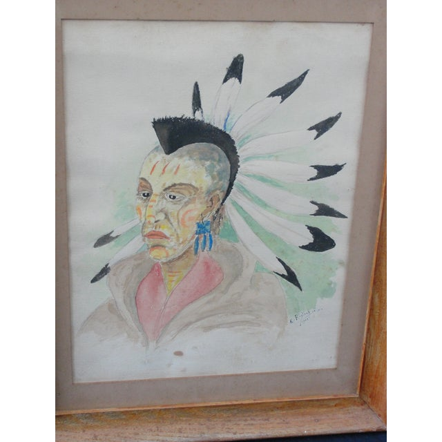 Vintage Watercolor on Paper Painting Blackhawk Indian by E. Rigling This is an extremely well done watercolor on paper...