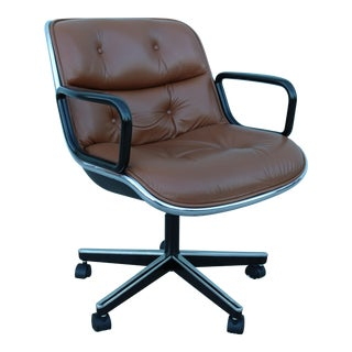 1960s Vintage Mid-Century Modern Knoll Pollock Brown Leather Executive Chair For Sale