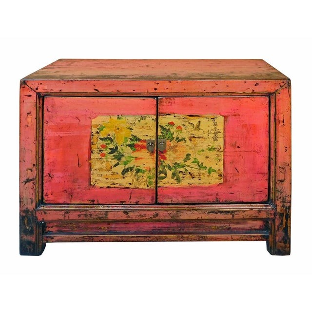 Distressed Chinese Pink Floral Console Cabinet - Image 2 of 8