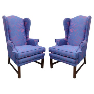 Vintage Pair of Wingbacks Restyled by Todd W. G. Corder, Originally 1970s, Usa For Sale