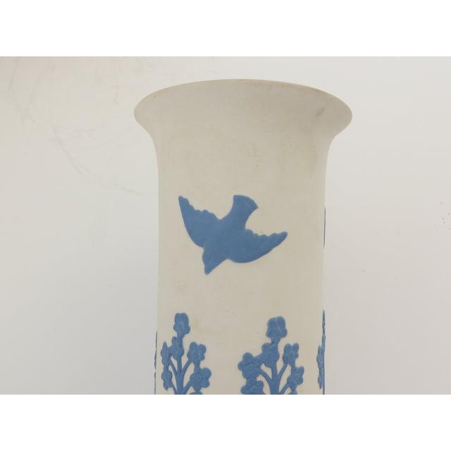 Ecanada White & Blue Art Pottery Vase For Sale - Image 4 of 7