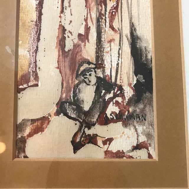 Vintage Watercolor of a Lady Signed Schulman For Sale - Image 4 of 6