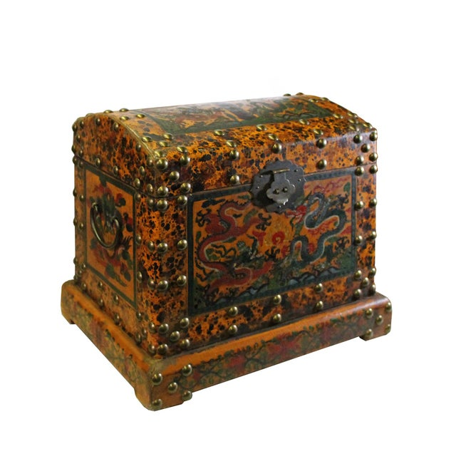 Chinese Chinese Distressed Yellow Red Dragon Graphic Trunk Box Chest For Sale - Image 3 of 9