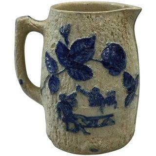 1880 Utica White's Pottery, Ny Blue Decorated Stoneware Jug For Sale
