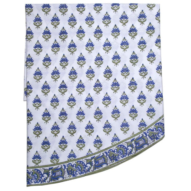 Blossom Round Tablecloth - Blue For Sale - Image 4 of 4