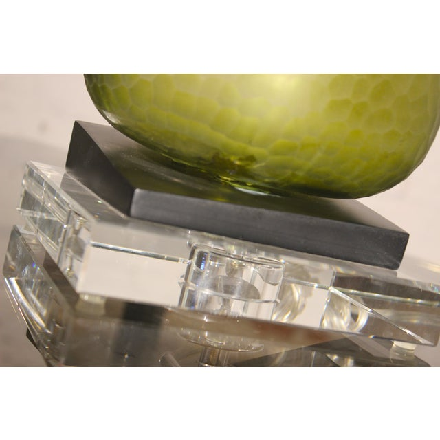 John Richard Green Glass & Crystal Buffet Lamp For Sale - Image 7 of 10