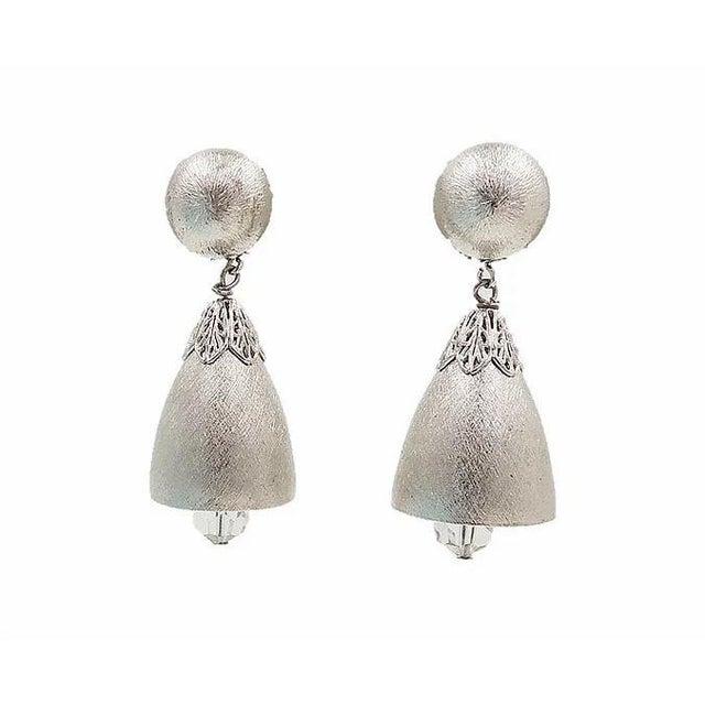 1970s Napier Silvertone Bell Earrings For Sale In Philadelphia - Image 6 of 6