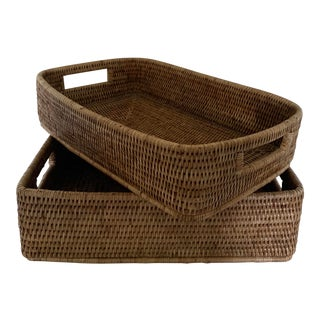 Rattan Woven Baskets - a Pair For Sale