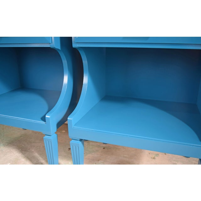 Early 20th Century 20th Century Italian Baroque Teal Blue Side Tables - a Pair For Sale - Image 5 of 9