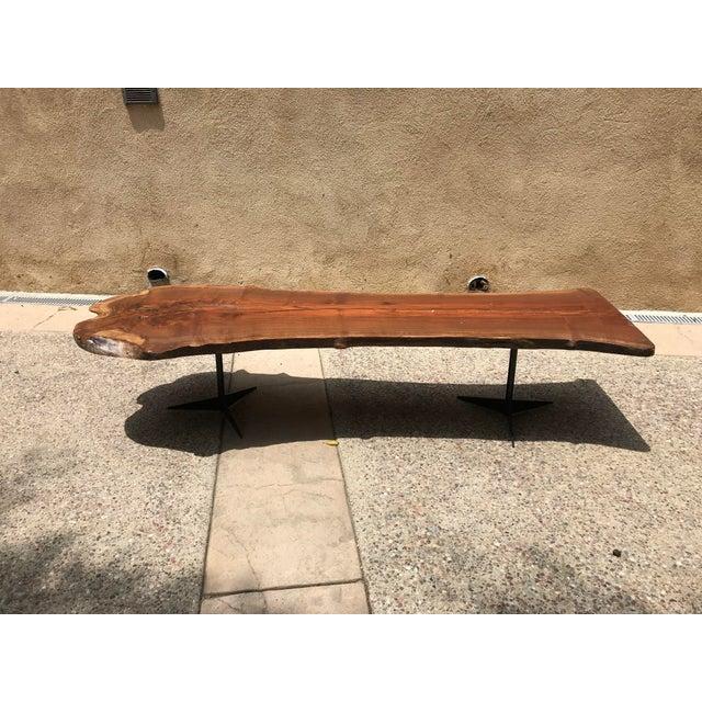 2010s Free Flowing Wood Slab Black Metal Base Coffee Table For Sale - Image 5 of 5