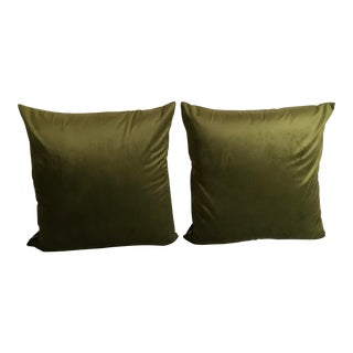 Green Velvet Pillow Covers - A Pair For Sale
