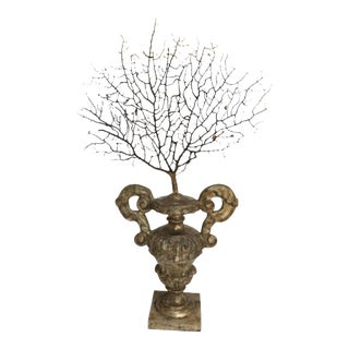 Antique Italian Silvered Wood Urn With Sea Fan