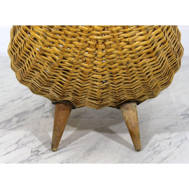 Animal Skin Mid-Century Modern Franco Albini Italian Rattan Wicker Leather Magazine Basket For Sale - Image 7 of 8