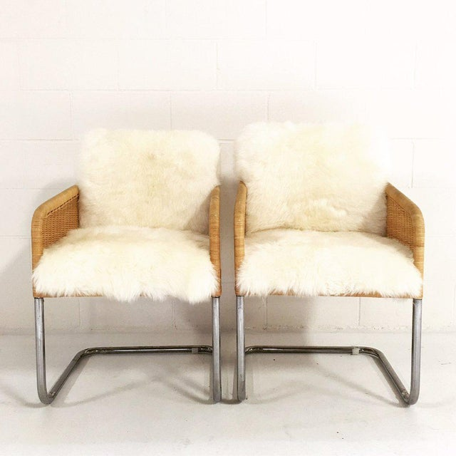 Woven Chairs with Sheepskin Cushions - A Pair - Image 4 of 8