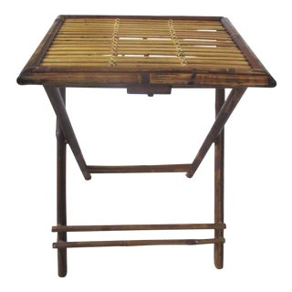 1970s Bamboo Folding Table For Sale