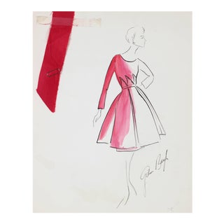 Gibson Bayh Pink Evening Dress Fashion Illustration in Ink, 1950s For Sale