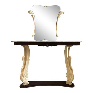 1950s Italian Mid-Century Modern Rosewood and Marble Console and Mirror For Sale