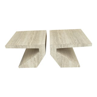 Faux Travertine Geometric Shapes Side Tables a Pair. For Sale