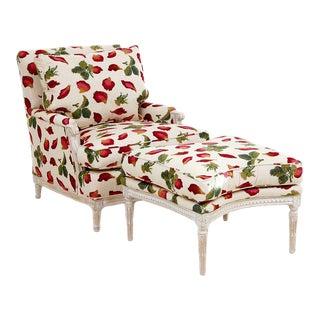 1990s Louis XVI Style Armchair & Ottoman - Set of 2 For Sale